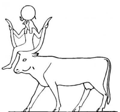 Бог Ра на небесной корове. Прорисовка культового изображения