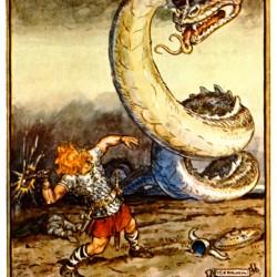 Последняя встреча Тора и Ёрмунганда. Иллюстрация Чарльза Брока