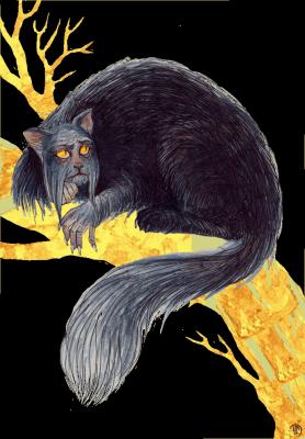 Кот Баюн. Иллюстрация Лидии Магоновой (Ink-Yami)
