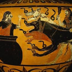 Геракл приводит Кербера к Эврифею. Рисунок на чернофигурной гидре