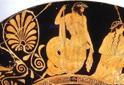 Кекроп. Изображение на краснофигурном килике V века до нашей эры