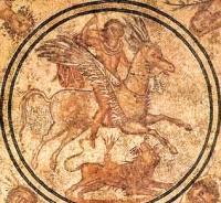 Химера, Пегас и Беллерофонт. Римская напольная мозайка