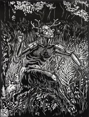 """Чугайстер. Иллюстрация Елены Кульчицкой из цикла """"Легенды гор и лесов"""" (1936)"""