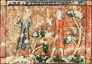 Циклопы. Иллюстрация из рукописи Национальной Нидерландской библиотеки (Hague, KB, KA16)