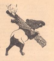 """Тапир несет горящее полено. Иллюстрация Н.Альтмана к сказке """"Огонь"""""""