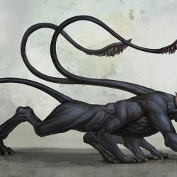 Displacer Beast. Иллюстрация Аарона Хабрича