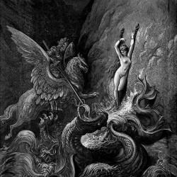 Руджьеро сражается с морским чудовищем, угрожающем Анджелике. Иллюстрация Г.Доре