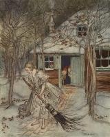 Три лесных гнома (Die drei Männleim im Walde). Иллюстрация Артура Рэкхэма (1917) к сказке братьев Гримм
