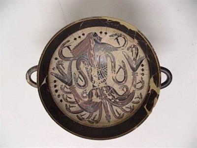 Тифон. Краснофигурный килик, 560-500 годы до н.э.
