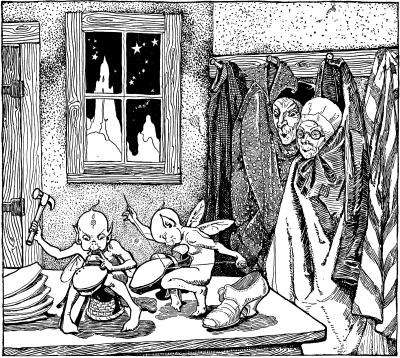 """Башмачник и гномы. Иллюстрация к сказке братьев Гримм (альманах """"Boys and Girls Bookshelf"""",1920)"""