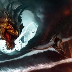 Побег от дракона. Иллюстрация Антонио Де Люка (Antonio De Luca)