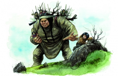 Амауталик (Амайурйук) собирает детей. Иллюстрация Евы Вайдерманн