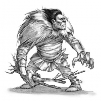Кангиксуармиукпак (Kangiqsuarmiuqpak), великан из мифологии инуитов. Иллюстрация Евы Вайдерманн