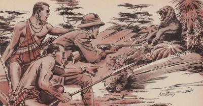 Встреча охотников с медведем Нанди. Иллюстрация Ала МакУильямса