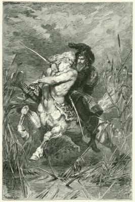 Фауст верхом на Хироне. Гравюра Франца Ксавера Симма (1899)