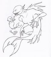 """Фиджийская русалка. Иллюстрация Фионы Эванс для книги """"Compendium of North American Cryptids & Magical Creatures"""""""