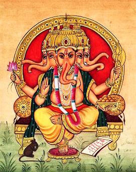 Многоголовый бог Ганеша. Рисунок
