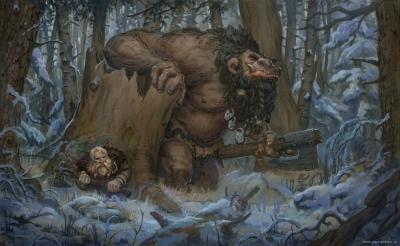 Человек прячется от тролля. Рисунок Йонаса Йенсена