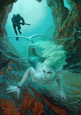 Охота на русалку. Иллюстрация Вальдемара Казака