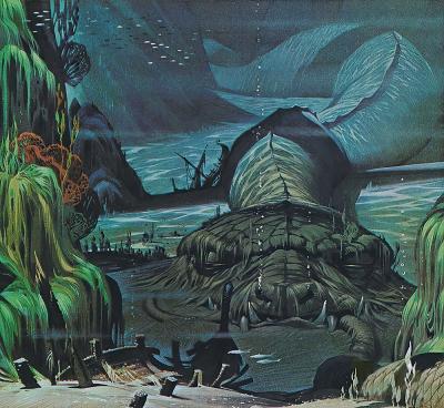 "Ёрмунганд, змей Мидгарда. Иллюстрация Ангуса МакБрайда для журнала ""Finding Out"""