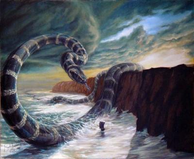 Ёрмунганд, сын Локи. Иллюстрация Мигеля Регодона Харкнесса (Miguel Regodón Harkness)