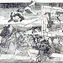 Кайбё из Арима летит над самураями. Гравюра к постановке спектакля