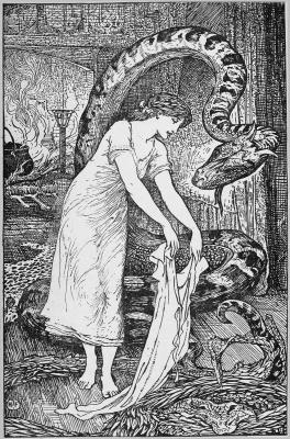 """Принц-линворм и его прекрасная жена. Иллюстрация Г.Форда к сказке """"Принц-линворм"""" из """"Розовой книги сказок"""" Эндрю Лэнга (1897)"""