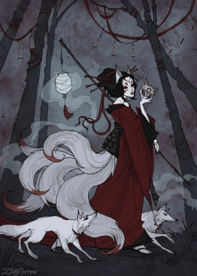 Кицунэ. Иллюстрация Ксении Свинцовой