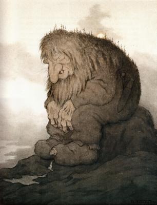 Тролль, задумавшийся о том, сколько ему лет (Trollet som grunner på hvor gammelt det er). Иллюстрация Теодора Киттельсена, 1911