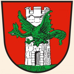 Линдворм на гербе города Клагенфурт (Австрия)