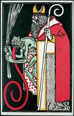 Открытка со святым Николаем и крампусом, 1911