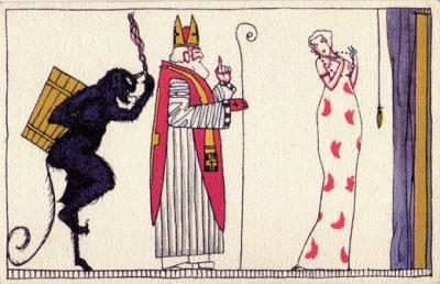 Открытка со святым Николаем и крампусом, 1912