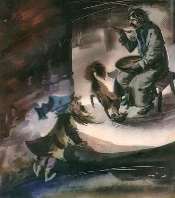 Кузнец и гном (Kuźnik i Piędzimężyk). Рисунок Марии Орловской-Габрысь к силезской сказке