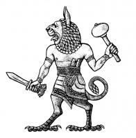 Лев-демон Угаллу. Иллюстрация Мерли Инсинга