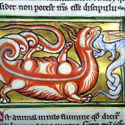 Крокодил поедает гидруса. Рукопись Моргановской библиотеки в Нью-Йорке (Manuscript. M.81, fol.83v.)