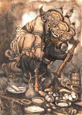 """Мангус на иллюстрации Николая Кочергина к монгольской сказке """"Батор-Седкилту"""""""
