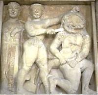 """""""Афина и Персей, убивающий Горгону"""". Метопа из храма в Селинунте (Сицилия), 2-я половина VI века до н.э."""