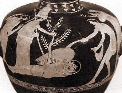 Афина, Персей и Медуза. Роспись сосуда 450-440 до н.э. Музей в Ричмонде, Вирджиния