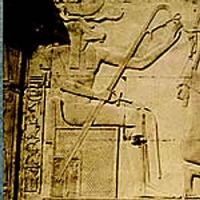 Бог Меримутеф на рельефе храма Сети I в Абидосе