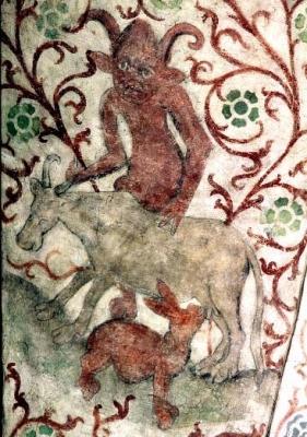 Дьявол держит корову, из которой пьёт молоко молочный заяц. Фрагмент фрески в церкви Осмо, Швеция, ок. 1470 года