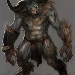 "Минотавр. Рисунок Тобиаса Квана к игре ""God of War"""