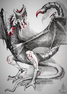 Кокатрикс или Куролиск. Иллюстрация Ивана Онякова к бестиарию Сапковского