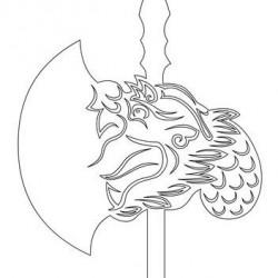 Прорисовка Яцзы — одного из девяти сыновей дракона — на боевом топоре