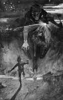 Нукелави преследует островетянина. Иллюстрация Джеймса Торранса (1859-1916)