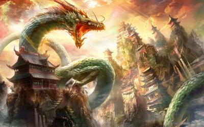 Китайский дракон. Цифровая иллюстрация