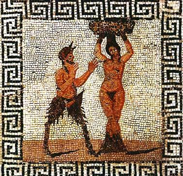 Пан и гамадриада. Помпейская мозайка