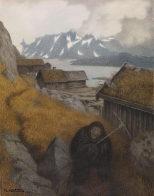 Песта-чума охватила страну (Pesta farer landet rundt). Иллюстрация Теодора Киттельсена (1904)