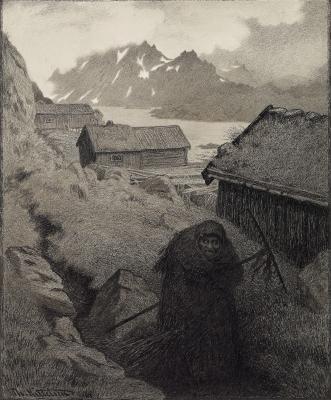 Песта-чума охватила страну (Pesta farer landet rundt). Рисунок Теодора Киттельсена (между 1894 и 1896)