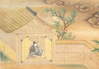 """Кавалер сидит перед входом в амбар, где обитает демон. Иллюстрация к """"Повести об Исэ"""""""