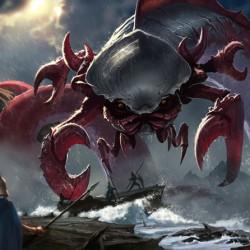 """Кракен, губитель кораблей (Shipbreaker Kraken) из колоды ККИ """"Magic: The Gathering"""". Концепт Джека Вонга (2014)"""